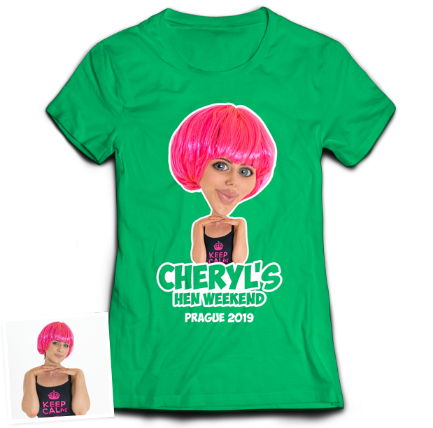 Hen Do Caricature from Photo T-shirt – Caricature, Text, Location on green T-shirt