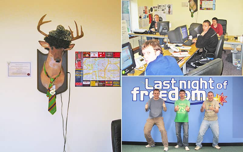 Split image featuring a stag head on a wall wearing a tie and hat, three men in front of a Last Night of Freedom sign, and three men sat at desks