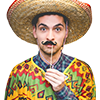 A circular images of a man dressed as a Mexican