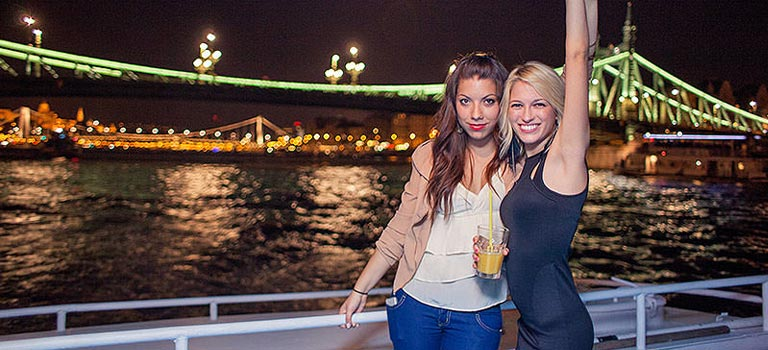 Two girls on a boat on the Danube River