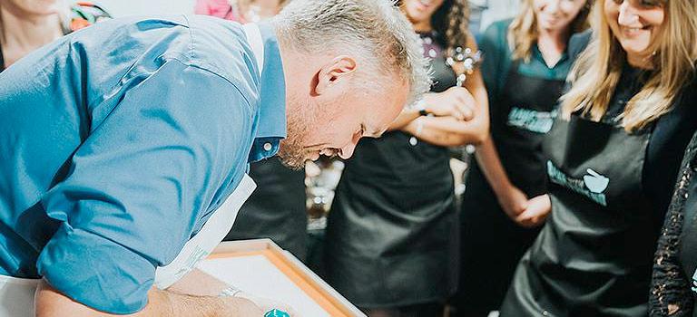 A baking legend helping a hen party bake