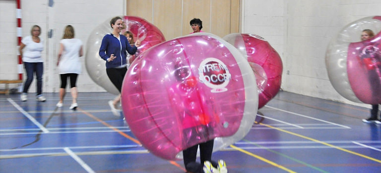 Some women taking part in bubble football