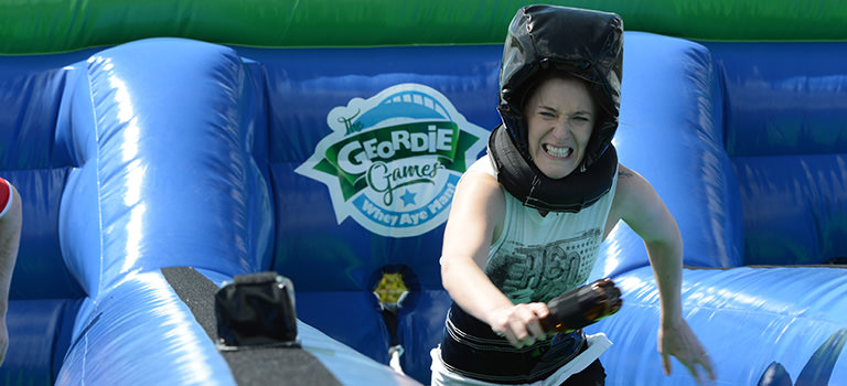 A girl taking part in the Geordie Games