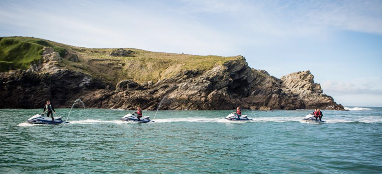 Women having jetski lesson in Newquay on hen party weekend