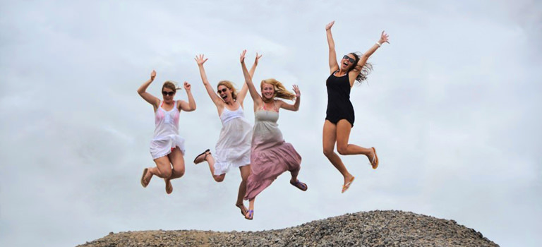 A group of girls jumping