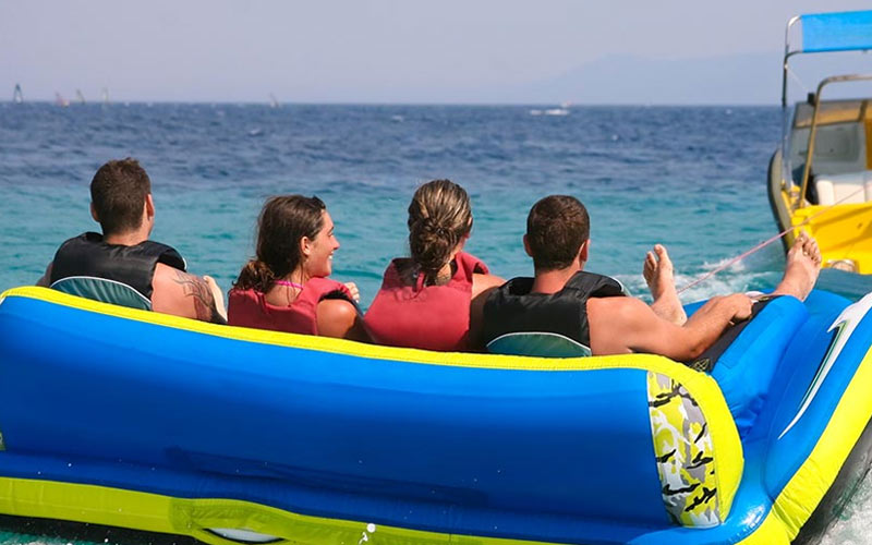 Some people on a banana boat