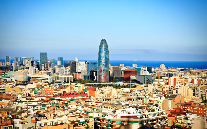 The Gherkin on the Barcelona skyline