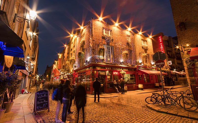 The Temple Bar in Dublin at night time