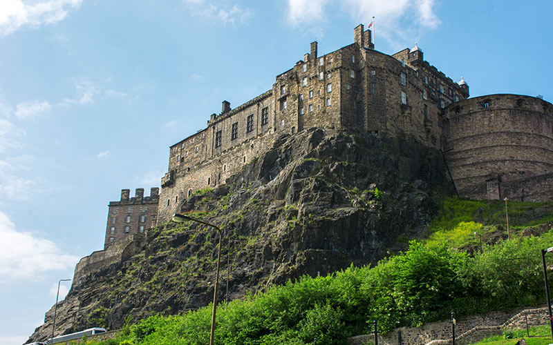 Edinburgh Castle from the bottom of the hill