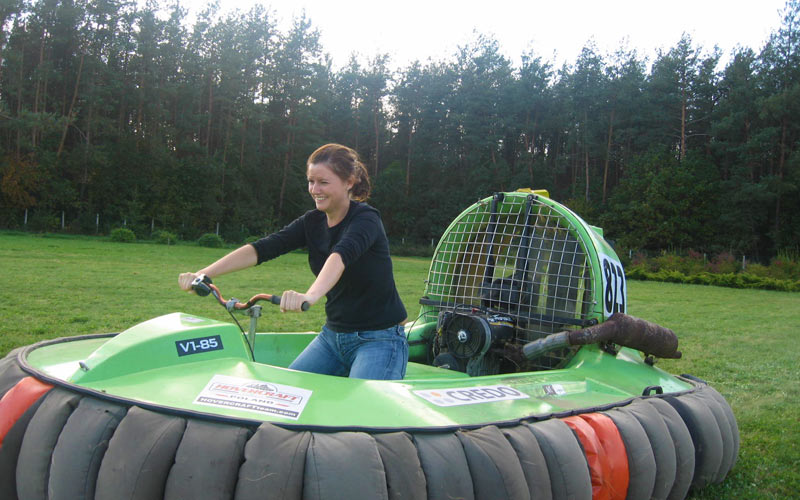 A woman riding an inflatable vehicle
