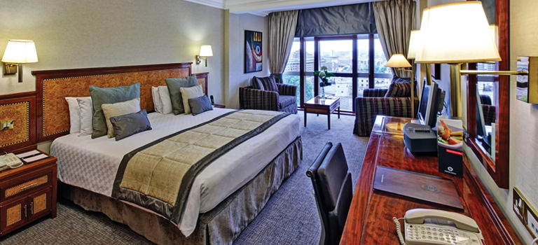 A posh hotel room in London