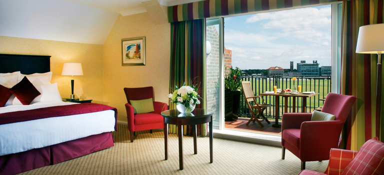 A hotel room in York looking out over a sports field