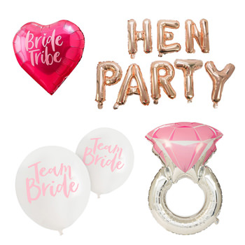 A silver ring balloon and a gold hen party balloon.