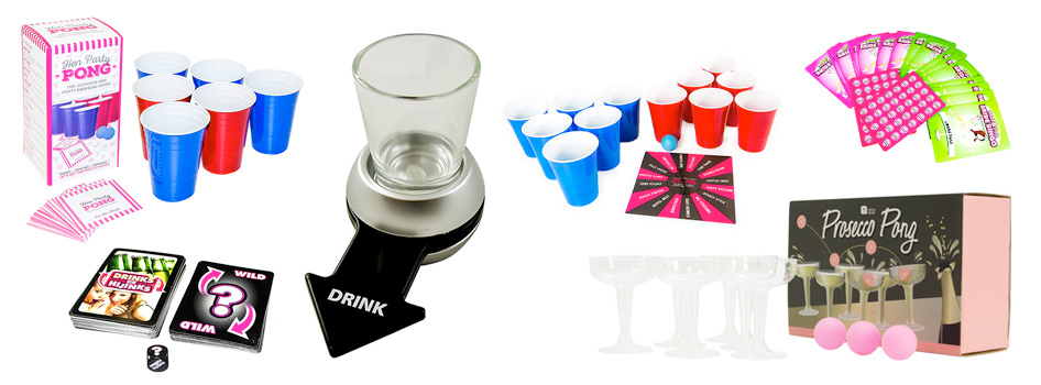 Drinking games including beer pong, prosecco pong and a dare spinner.
