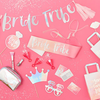 The selection of bride tribe products including sashes and banners.
