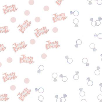 A combination of team bride and silver ring confetti.