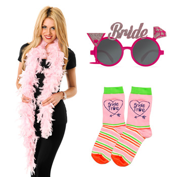 Feather boas, glasses and a pair of socks.