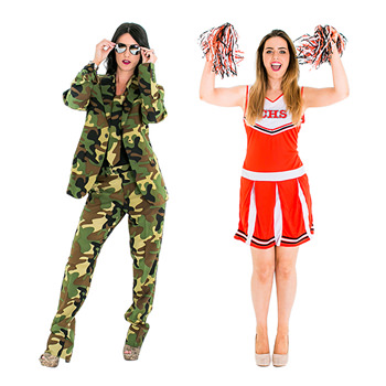 A commando opposuit and a cheerleader