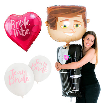 Three different hen party balloons including the groom balloon.