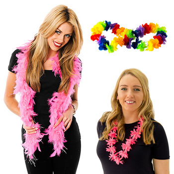 Three of our selection, pink boas and Hawaiian Leis