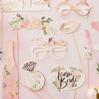 Rose gold foil team bride collection complete with photo booth props.