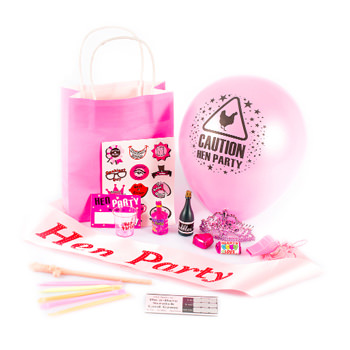 A hen party gift bag and the contents.
