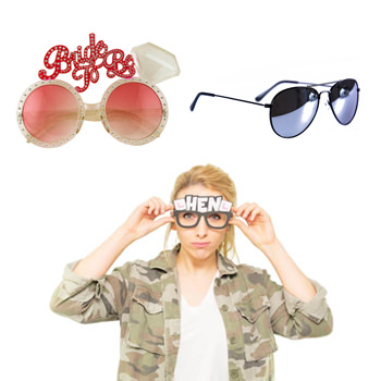 A model wearing the hen party glasses, also a pair of shades and some bride to be ones.