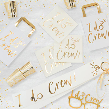 I do crew collection, bags sashes and cups all in gold and cream colours.