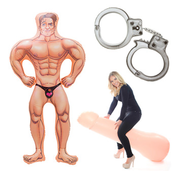 An inflatable male doll, handcuffs and a model on a massive inflatable willy