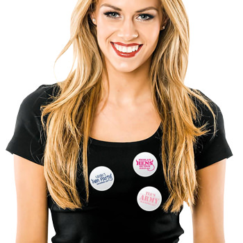 A model wearing three personalised badges.