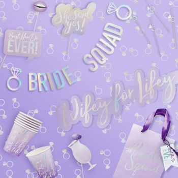 Bride squad collection, banners, photo props, paper cups and more