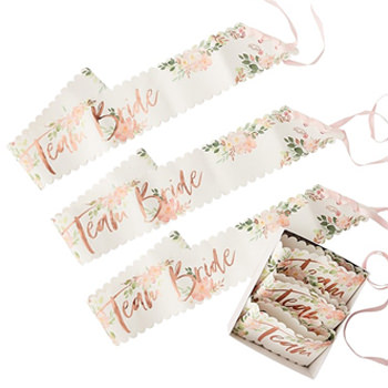 The pack of six team bride sashes.