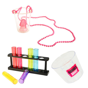 A rack of test tube shot glasses along with a glass on a necklace.