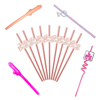 A selection of hen party drinking straws, willy straws and rose gold team bride versions.