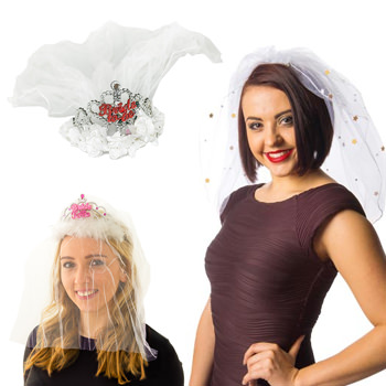Three different hen party veils being modelled.