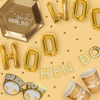 Metallic gold Woo Hoo Hen Do collection, balloons, glasses and more.