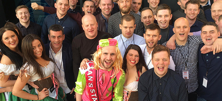 A group of stags with the bar babes