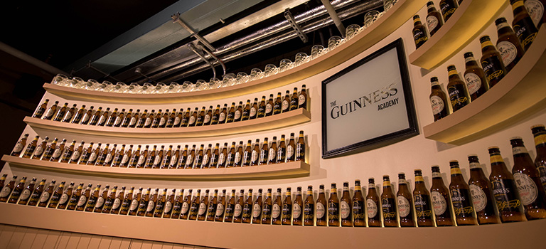 A wall of beers in Guinness Factory