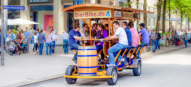 A beer bike in Hamburg