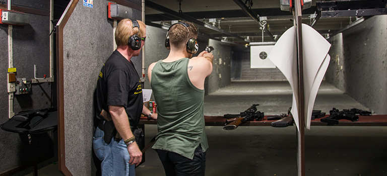 An LNOF team member in a Prague shooting range