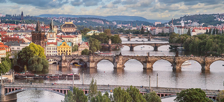 A view of the bridges across the river Vltava in Prague