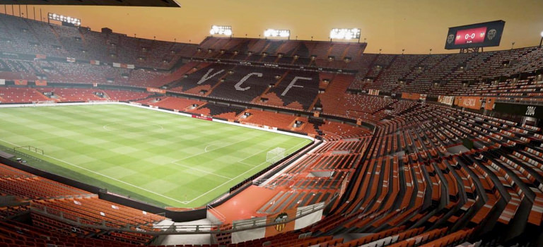 Pitch view of Valencia football stadium