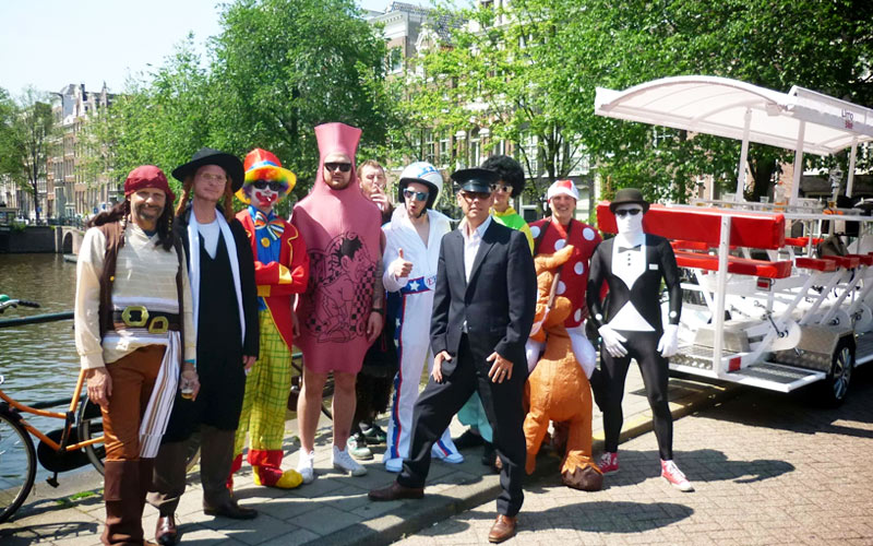 Some men wearing stag do costumes in Amsterdam