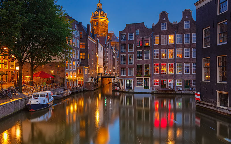 A view over the canal in Amsterdam
