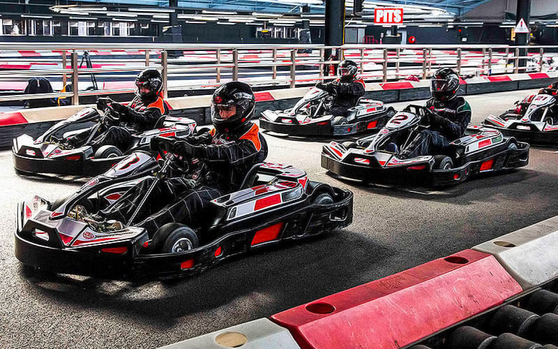 Some people in go karts in Bath