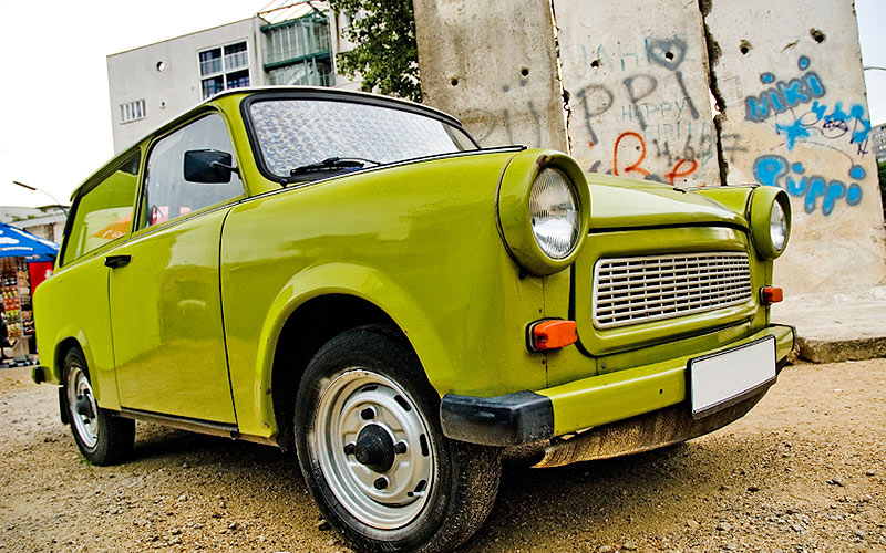 A green Trabant car