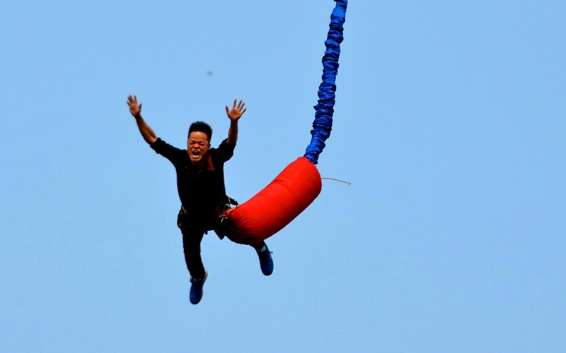 A stag bungee jumping
