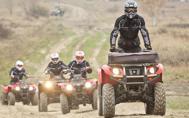 Some people riding on quad bikes through an open expanse of land