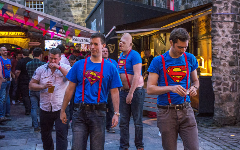 Some men wearing superman T-shirts in Edinburgh