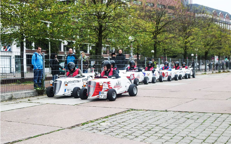 Some men in tiny karts in Hamburg